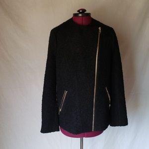 Forever 21 black asymmetrical textured jacket